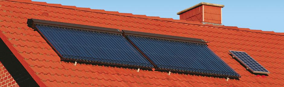 Haus mit Solarthermie auf dem Dach