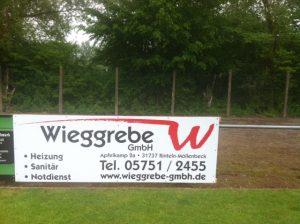 Werbebanner Sportplatz Wieggrebe GmbH